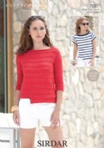 Sirdar Cotton DK Knitting Pattern - 7081 Jumper and Summer Top